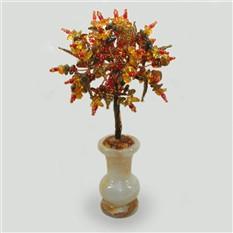 Дерево из янтаря Солнечный берег в вазочке из оникса