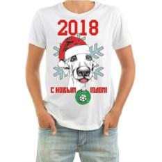 Мужская футболка Собака с елочным шаром