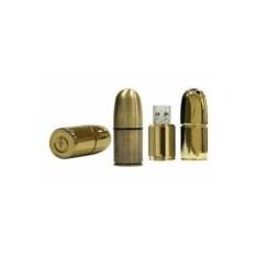 Флешка Патрон пистолетный золотого цвета