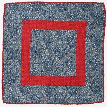 Платок Calabrese с фантазийным узором синих и красных тонов