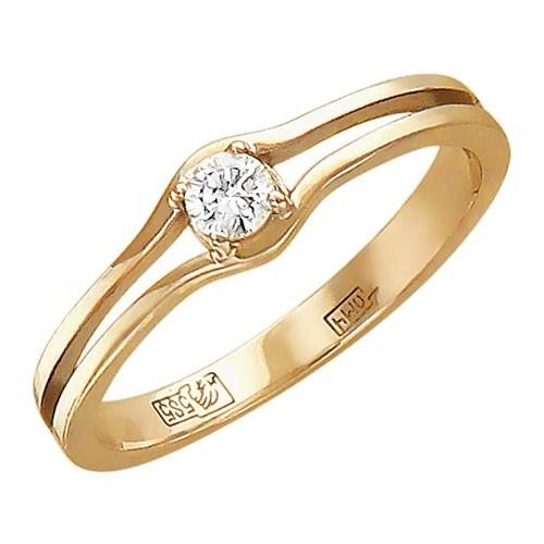 Помолвочное кольцо из красного золота с 1 бриллиантом