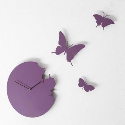 Часы настенные «Бабочки», фиолетовые