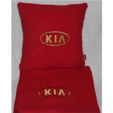 Красный плед с золотой вышивкой Kia