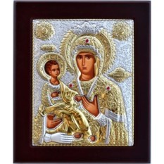 Икона Богородицы в серебряном окладе Троеручица