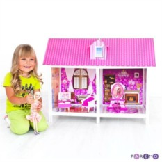 Кукольный дом с двумя комнатами, мебелью и куклой