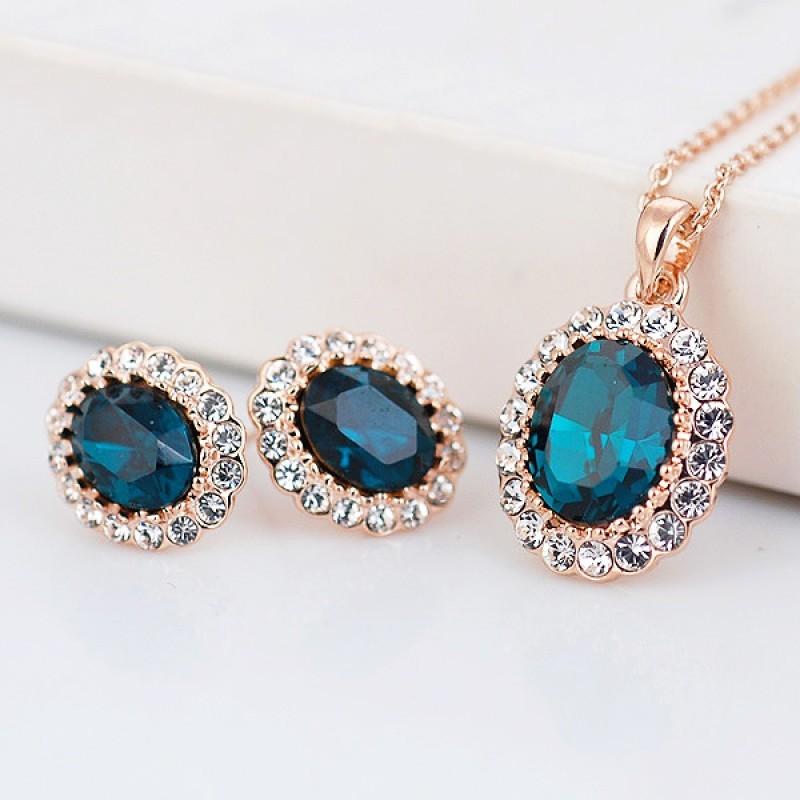 Комплект с синими кристаллами Сваровски «Старинный вальс»