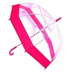 Прозрачный зонт-купол с розовой окантовкой