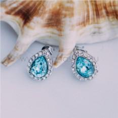 Серьги с голубыми кристаллами Сваровски «Хрустальные капли»