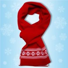 Красный шарфик «Зимние узоры»