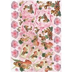Рисовая карта для декупажа Ангелы с розами