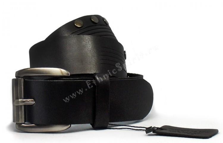 Джинсовый черный кожаный ремень от Scappa
