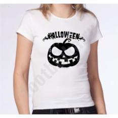 Женская футболка на halloween Черная тыква