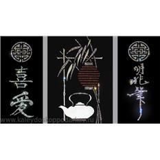 Картина-триптих с кристаллами Swarovski Чайный домик