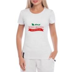 Белая женская футболка Merry Christmas
