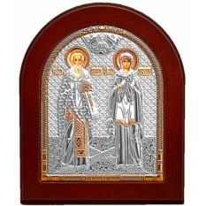 Серебряная икона.Киприан и Устина Священномученики