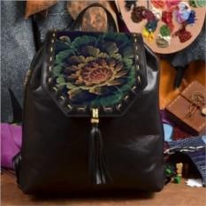 Женский кожаный рюкзак ручной работы Красивый цветок