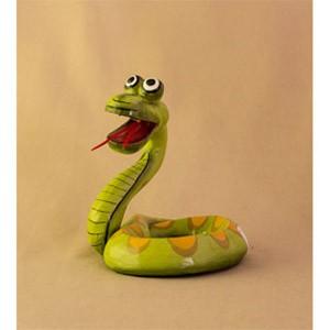 Фигурка из дерева Змейка зеленая