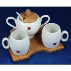 Подарочный чайный набор на бамбуковой подставке на 2 персоны