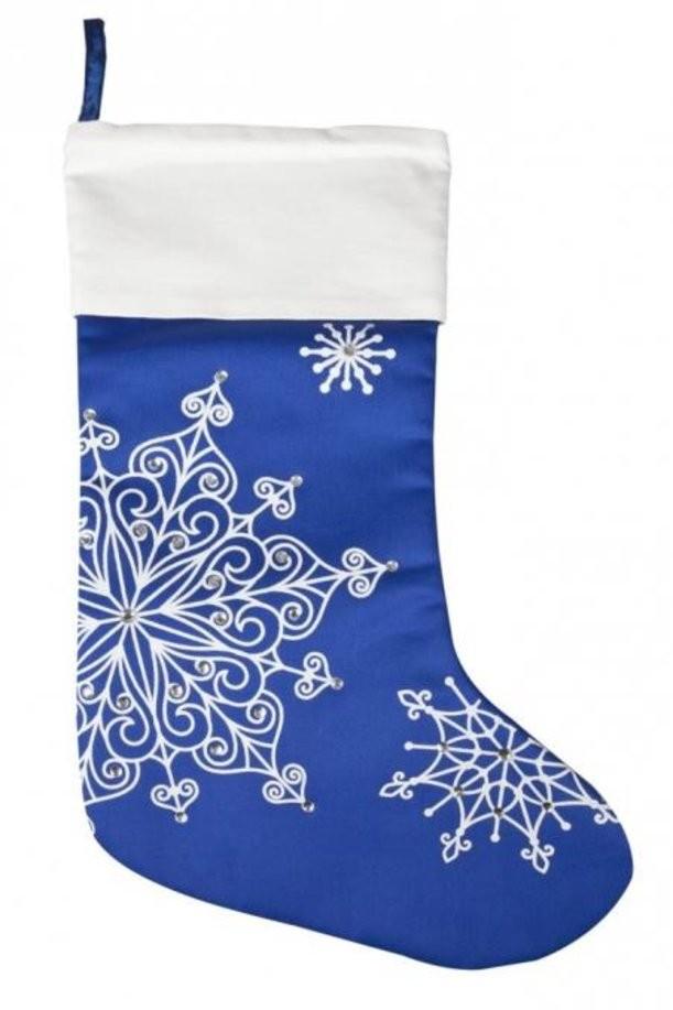 Синий носок для подарков «Снежинки»
