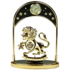 Декоративная фигурка с часами - знак Зодиака Лев