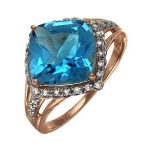 Кольцо из красного золота с бриллиантом и топазом