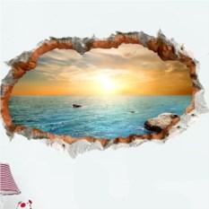 Виниловый 3D стикер Закат на море
