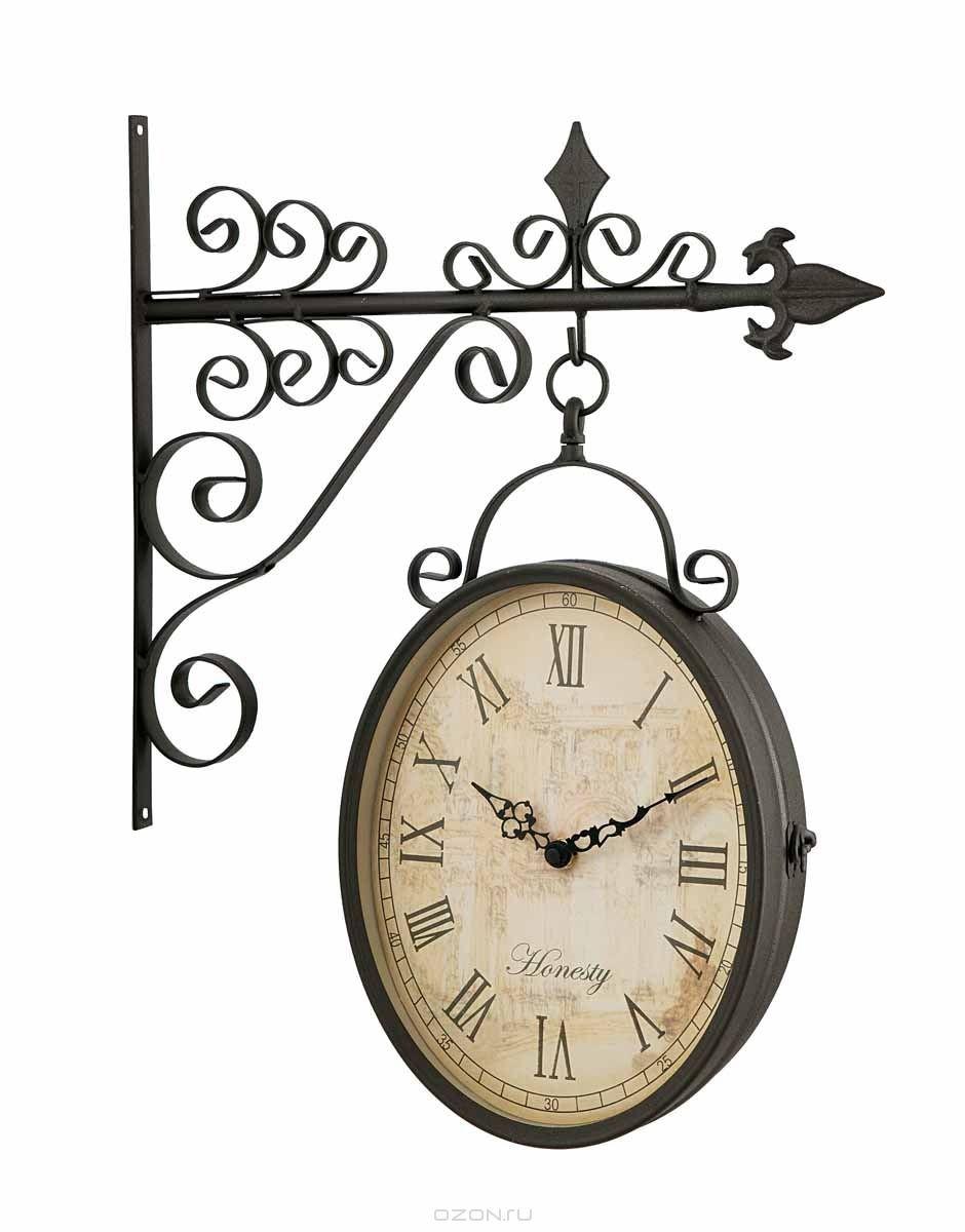 Часы настенные Clarence на кронштейне, серо-коричневые