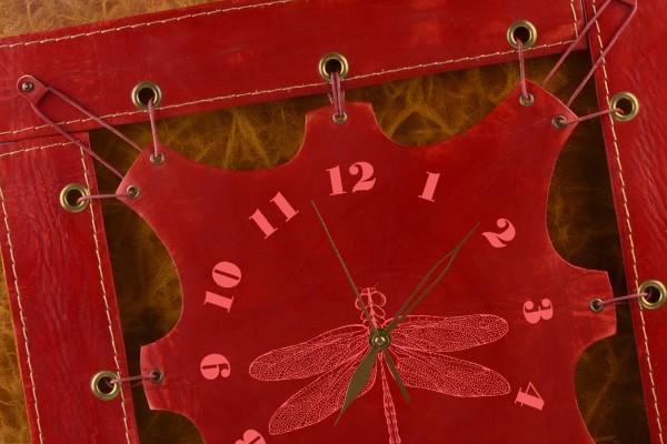 Часы из кожи Стрекоза (темно-красный)