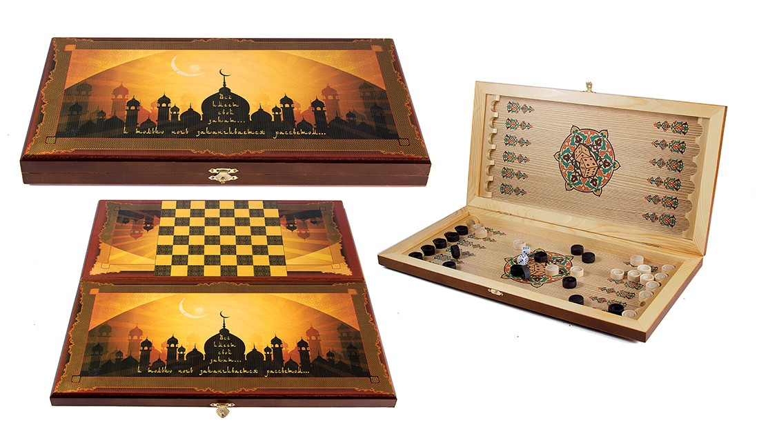 Настольная игра Нарды и шашки с изображением Мечети