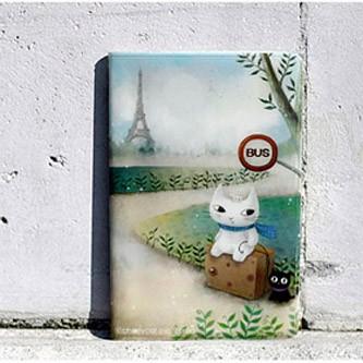 Держатель для карточек Cat and The Eiffel Tower