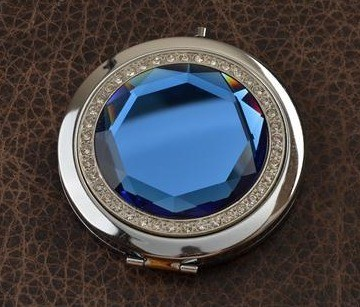 Карманное зеркальце, коллекция Crystal (синее; тип 1)