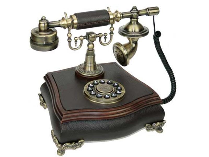 Черно-коричневый телефон Ретро