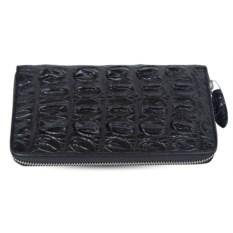 Черный кошелек из крокодиловой кожи на молнии