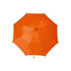 Оранжевый полуавтоматический зонт-трость с деревянной ручкой