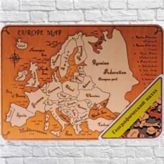 Деревянный пазл в рамке Карта Европы. Английский язык