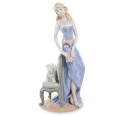 Статуэтка Дама в синем платье с собакой