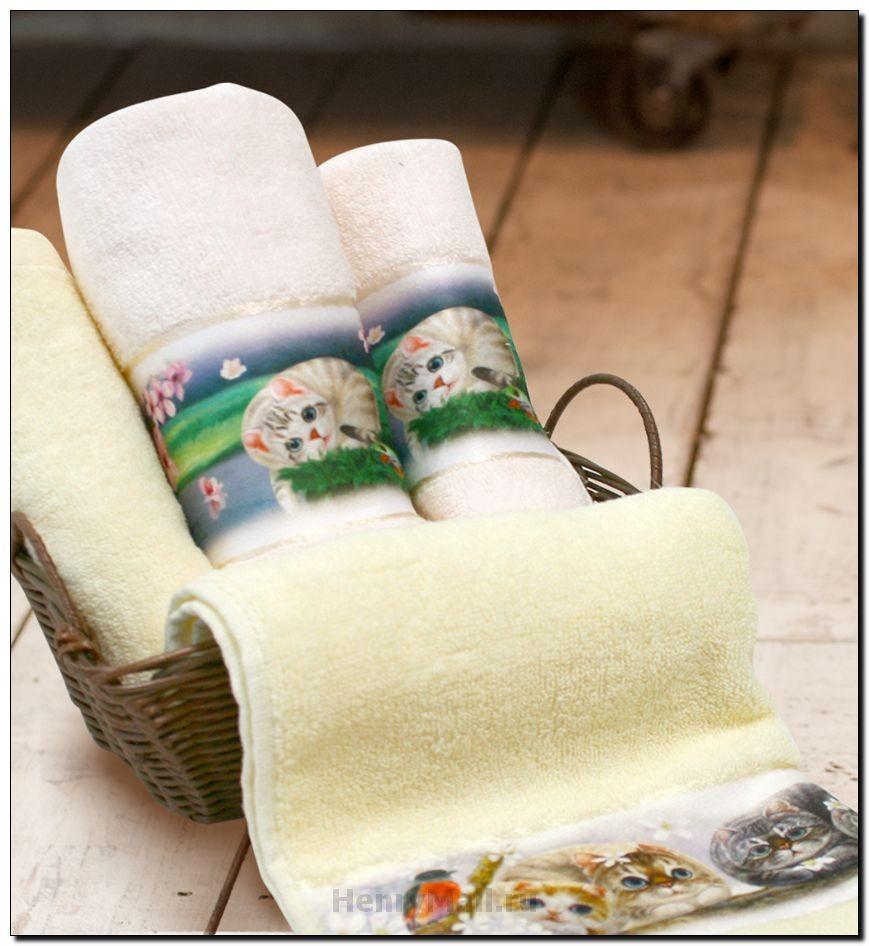 Набор полотенец с изображением кошек «Цветы вишни»