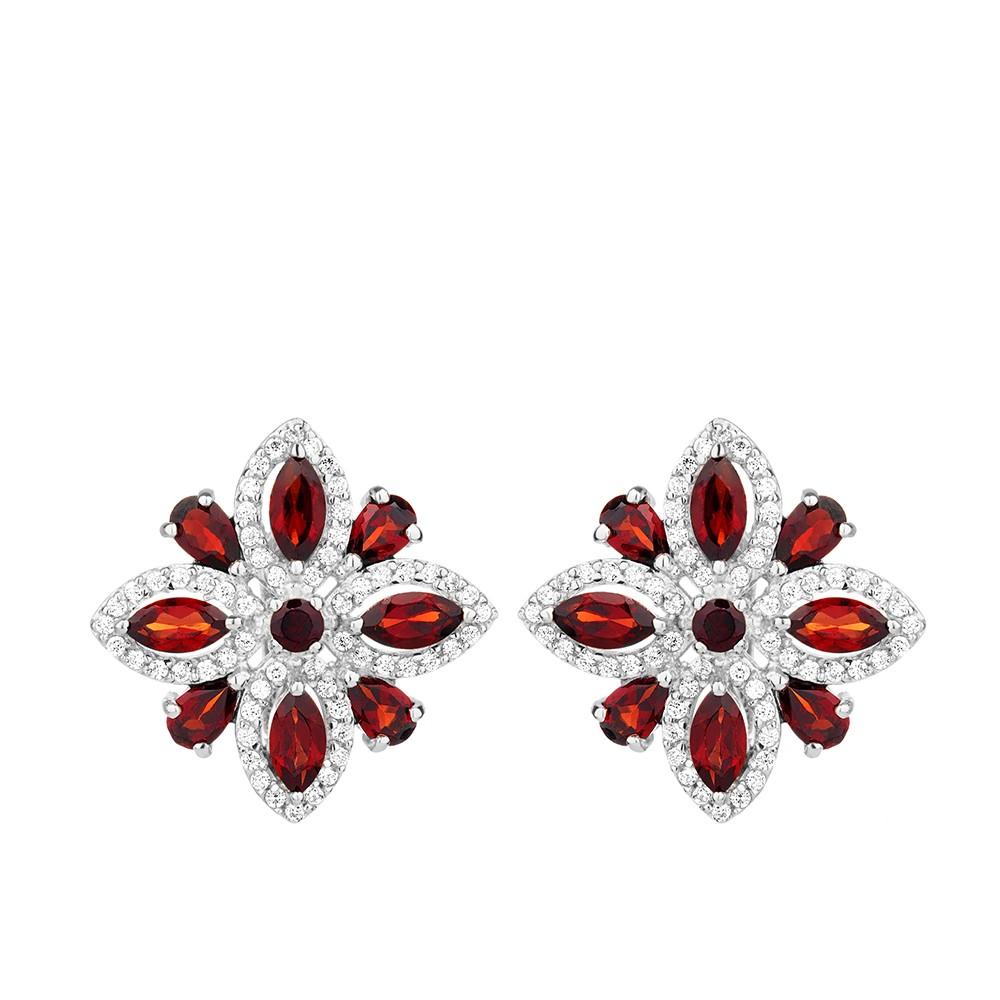 Серебряные серьги- цветки с гранатом и фианитами