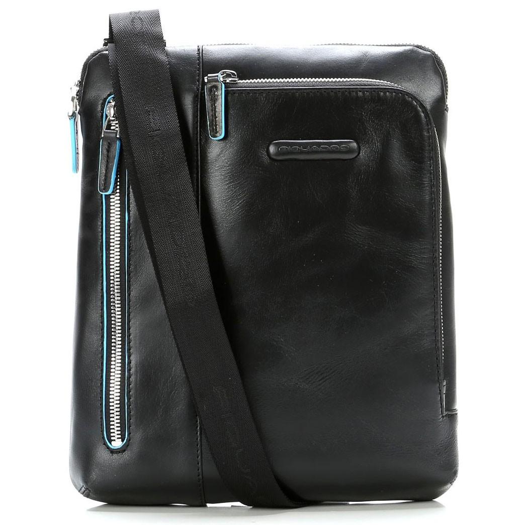 Черная кожаная сумка для планшета Piquadro Blue Square