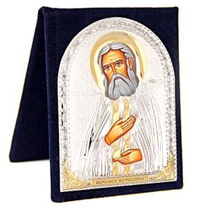 Серафим Саровский. Маленькая серебряная икона в футляре