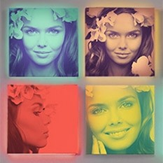 Pop-art портрет по фото на холсте или лайтбоксе, 35x35 см