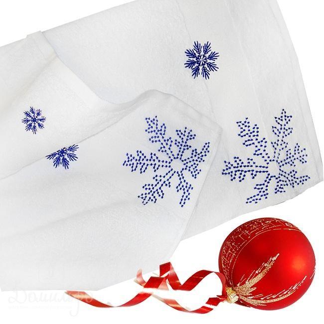 Набор полотенец с вышивкой Snow, голубой