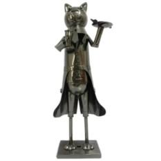 Декор бутылки из металла Кот