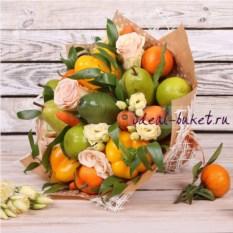 Букет из овощей, фруктов и цветов Супер микс