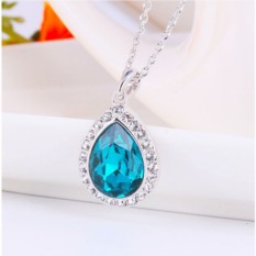 Кулон с синим кристаллом Сваровски Лира