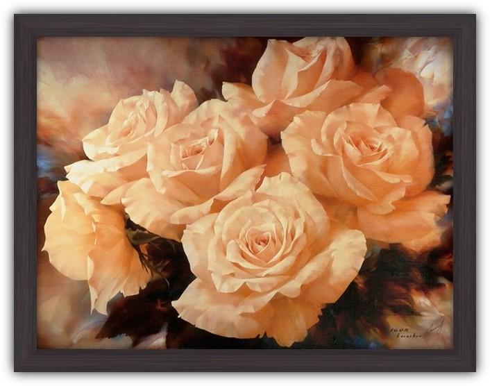 Картина (репродукция) Розы цвета шампанского (Светло-оранжевые розы)