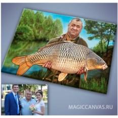 Портрет на холсте с фотографии Рыбак
