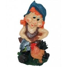 Садовая фигура Гном-девочка с курицей и лопатой