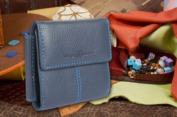 Синее кожаное портмоне Sergio Belotti