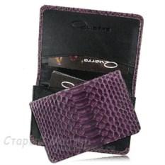 Женская фиолетовая визитница из кожи питона